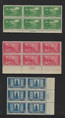 Us #617-619 Lexington-Concord Issue Plate Blocks Of 6- 1 Cent Lh/2Cent/5Cent Nh