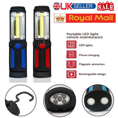 UK Rechargeable COB+5LED Hand Torch Lamp Magnetic Inspection Work Light Flexible