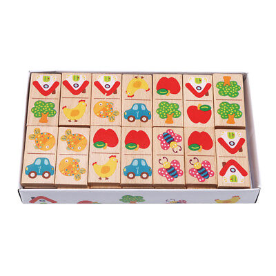28pcs/set Colored Dominoes Wooden Puzzle Cartoon Montessori Educational Toy