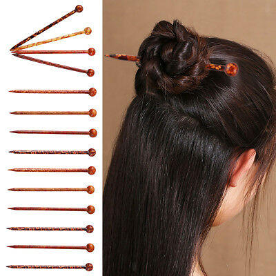 14Pcs Antique Vintage Chinese Wooden Hair Stick Wood Hairpin Craft Chopstick