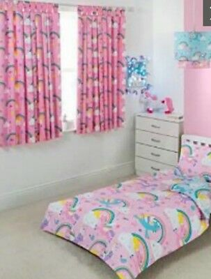 Girls Clouds Rainbow Unicorn Tab Top Curtains Fully Lined 66w X