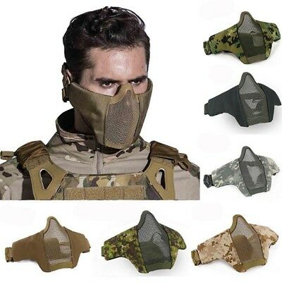 Adjustable Tactical Lower Half Face Mask Military Hunting Airsoft Mesh Mask