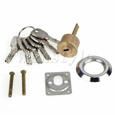 """Brass Single Line-Shaped Rim Cylinder Door Lock for 4"""" Thick Doors with Keys"""