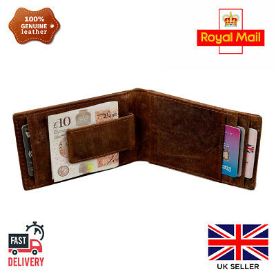 Mens Leather Handmade Money clip Wallet RFID blocking Real slim ID Card Holder