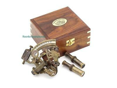 Astrolable Sextant Tool with Wooden Box Case Marine Sextant Instrument for Ship