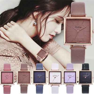 Women Fashion Leather Band Analog Quartz Square Quartz Wrist Watch Watches New