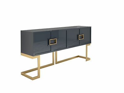 Graues Design Sideboard Buffet mit polierten Messing-Beinen