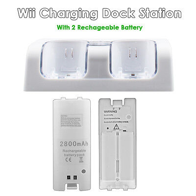 2 Rechargeable Battery&Dual Nintendo Wii Remote Charger Charging Dock Station