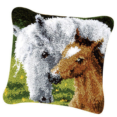 Pillow Case Latch Hook Kits Material Package for Kids Adults - Horse Pattern
