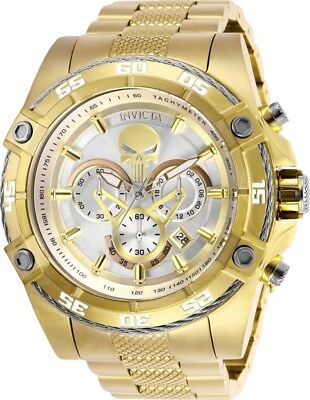 Invicta 26864 Marvel Punisher Men's Chronograph 52mm Gold-Tone Silver Dial Watch