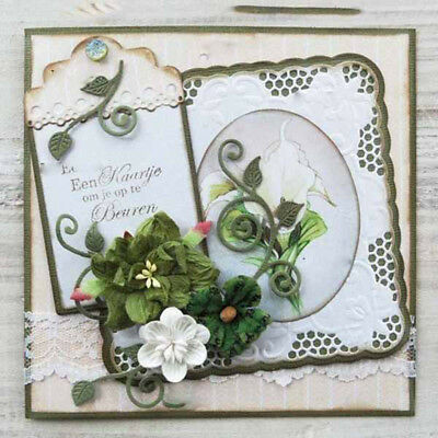 Xmas Greeting Cards Tags Frame Metal Cutting Dies for Paper Card Craft FEH