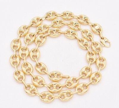 10mm Puffed Gucci Mariner Link Chain Necklace Real Solid 10K Yellow Gold Unisex