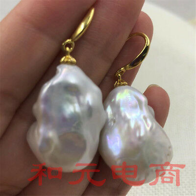 20-30MM HUGE baroque south sea pearl earrings 18K gold plating creamy classic
