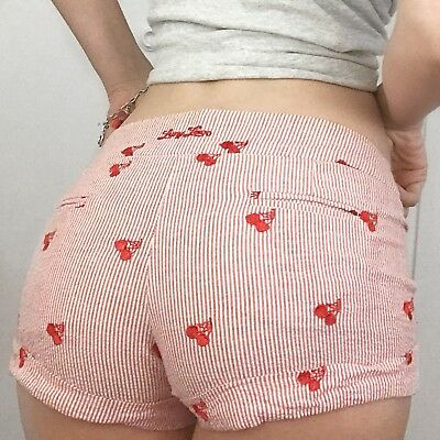 Women's LUCY LUCY LOVE Vintage Cherry Embroidered Red White Stripe Shorts Sz 1