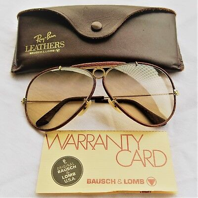 ac9ac58aef2 VINTAGE RAY BAN BL USA BAUSCH LOMB SHOOTER LEATHERS TANNING OSTRICH 62mm  RARE