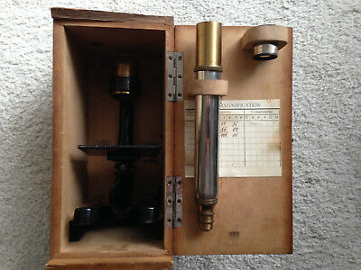 Antique Brass Student's Microscope In Original Wooden Box 1 Eyepiece 3 Objective