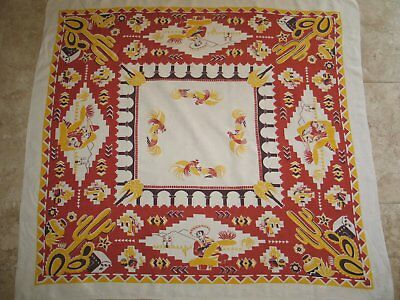 Vintage Dynamic Southwestern Mid Century Printed Tablecloth / 1940s 1950s