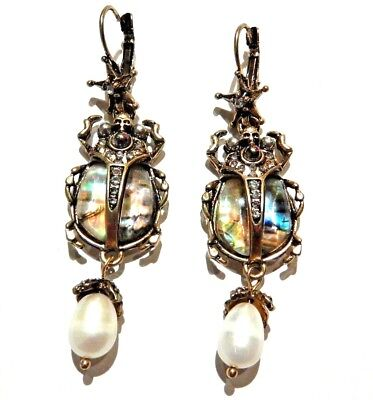 Abalone Shell Scarab Beetle Earrings skull crystal faux pear pendant gothic 4Y