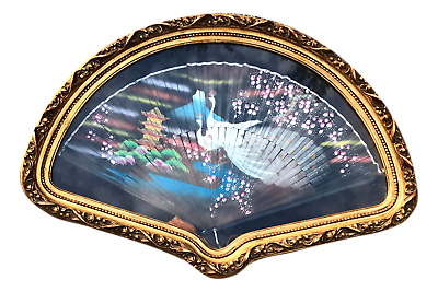 Antique Hand Painted Peacock Fan Shaped Gilded Frame Vintage Chinoiserie Art