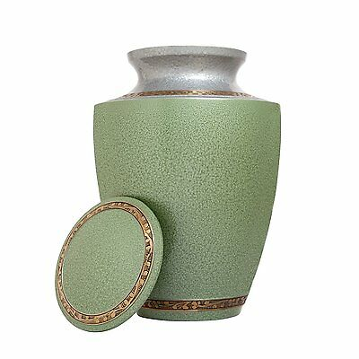 Adult Cremation Urn -  Funeral Urn For Human Ashes - Green - Vault - Silver