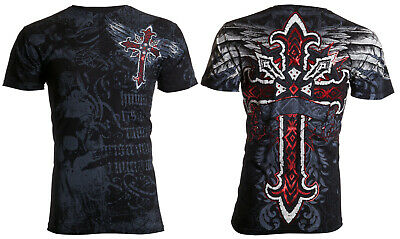 ARCHAIC by AFFLICTION Mens T-Shirt RED FLAG Cross Wings BLACK Biker UFC $40 NWT
