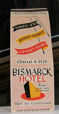 Rare Vintage Matchbook Cover W1 Chicago Illinois Bismarck Hotel Swiss Chalet