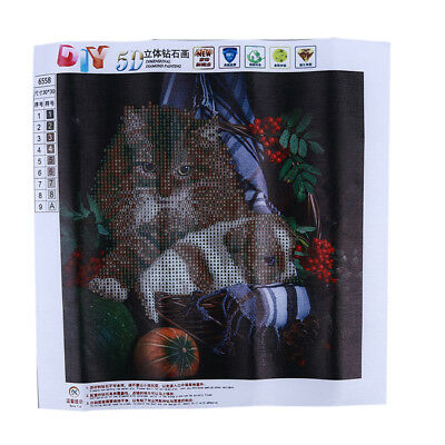 5D Animal Paradise Cat Resin Faux Diamond Painting Cross Stitch Embroidery S