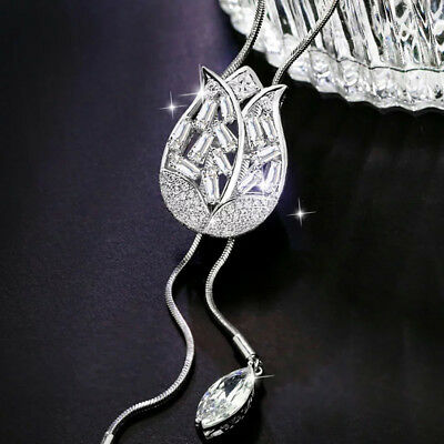 Sliver Color Tulip Sweater Chain Crystal Long Adjustable Alloy Necklace Gift S