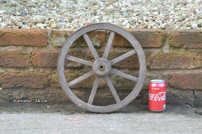 Vintage old wooden cart wagon wheel  / 34 cm - FREE DELIVERY