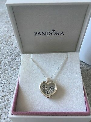 61d263d4721ee GENUINE PANDORA FLOATING Heart Locket Necklace + Love & Family Petites New