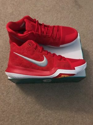 33e6c49dfd68 New Nike Kyrie 3 Men s Basketball Shoes University Red Suede 852395 601  Size 11