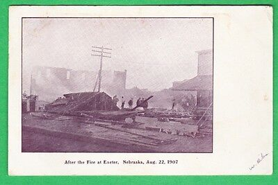 Postcard After the Fire AUG 22,1907 Exeter - Milligan to Lincoln Nebraska 1908