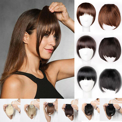 Clip on Front Neat Bang Side Fringe Bangs AU Stock Fake hair Brown Black AI5