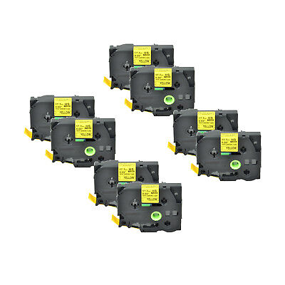 """8PK Heat Shrink Cartridge Label Black on Yellow HSe641 For Brother P-Touch 3/4"""""""