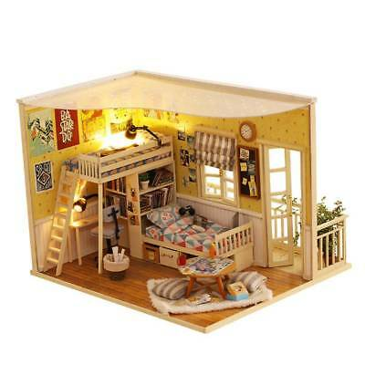 Doll House Miniature DIY Kit Dollhouse Furniture with LED Light Children Gifts
