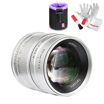 7artisans 55mm f1.4 APS-C Manual Fixed Lens for Fuji X Mount/ Sony E Mount+Pouch