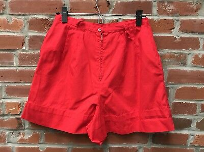 Vintage 60s 70s Red High Waist Shorts Womens (1818)