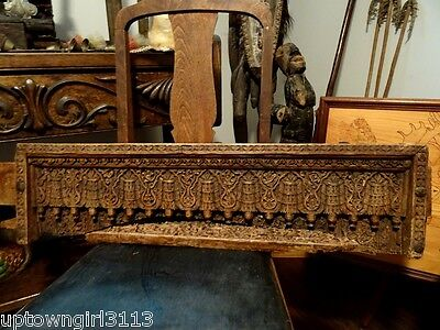 salvaged architecture antique TIBET DOOR TOPPER 19thC intricately carved wood