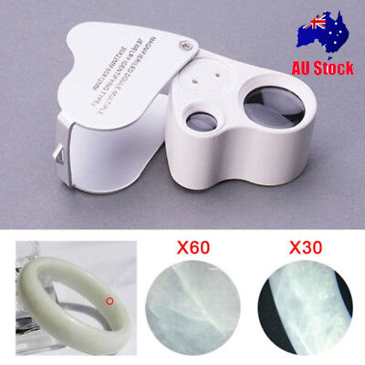 Mini Jeweller Eye Jewelry Len Glass Loupe 30X60X Magnifier Magnifying LED Light