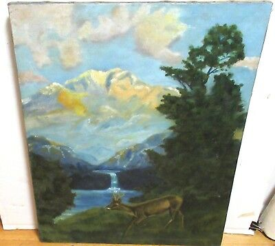 G.hipp Old Oil On Canvas Deer Mountain Landscape Painting