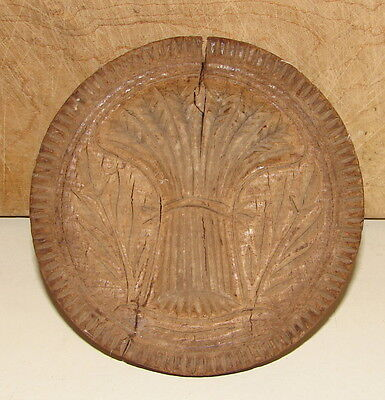 Antique American Folk Art Carved Wood Primitive Sheaf Of Wheat Butter Mold