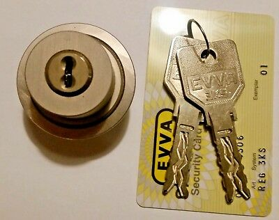 EVVA 3KS Lock High Security Round Cylinder with Keys and Card | New