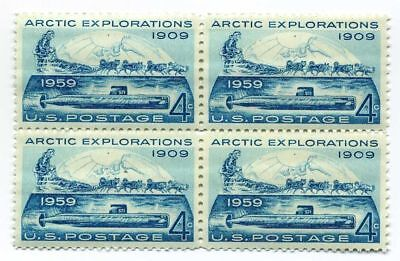 Iditarod Alaskan Huskies & Arctic Explorers 59 Year Old Mint Vintage Stamp Block