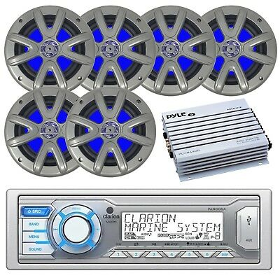 """Clarion Marine 1-DIN Receiver, 6 x 6.5"""" Marine LED Speakers, 4-Channel Amplifier"""
