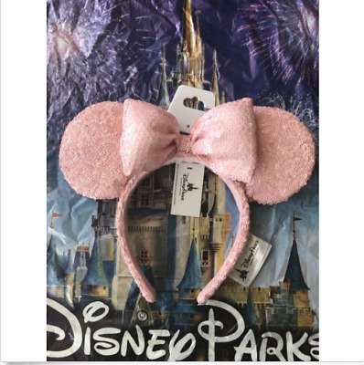 Disneyland Disney Parks Millenial Pink Minnie Ears Sequin Bow Headband 2018 NEW