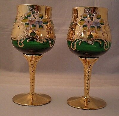 Pair Of Vintage Bohemian Gilded and enameled Glass Wine Goblets ( # 1 Cab)