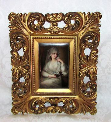 Antique Hand Painted Berlin Porcelain Plaque Framed Circa 1880