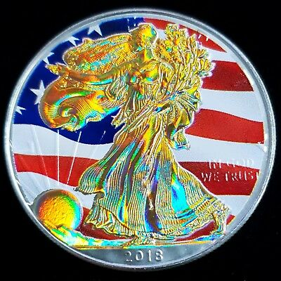2018 American Eagle Colorized Hologram $1 1oz .999 Fine Silver Flag App 9AE1835