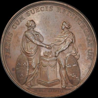 France, Louis XV - 1738 Franco-Swedish alliance medal by Duvivier
