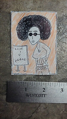 Peace Activist Original Outsider Lowbrow Aceo Art Illustration Pin Up Drawing